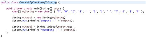 how to declare string in java java two ways to convert char array to string crunchify