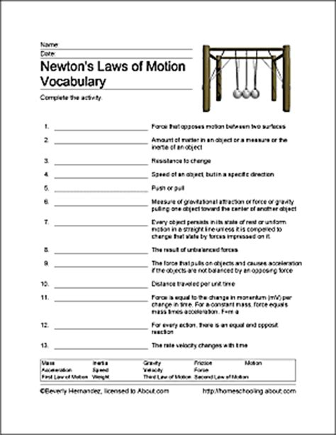 Pdf Three Laws Of Motion by Newton S Laws Of Motion Homeschooling Exercises
