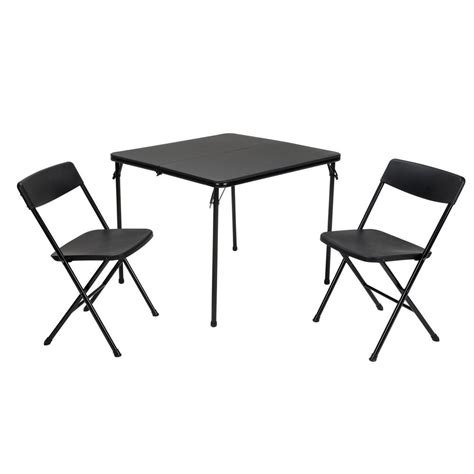 Cosco Folding Table And Chairs Cosco 3 Black Folding Table And Chair Set 37334blk1e The Home Depot