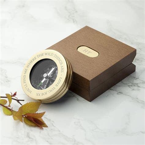 Personalised Brass Compass with Wooden Box   Find Me A Gift