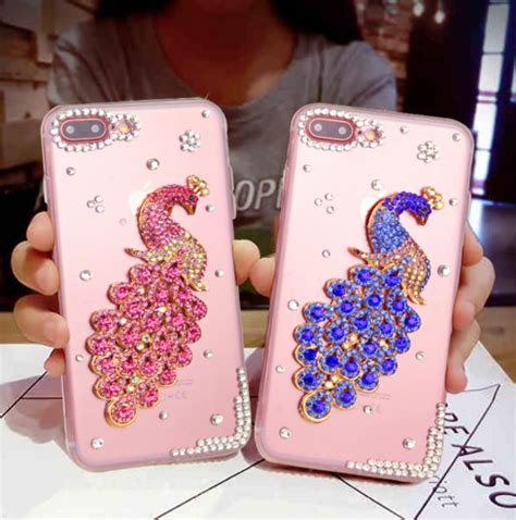 Luxury 3d Phone For Iphone 7plus 3d peacock bling phone for iphone 7 plus 5 5 iphone
