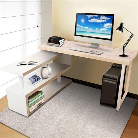 artiss rotary corner desk  bookshelf brown white