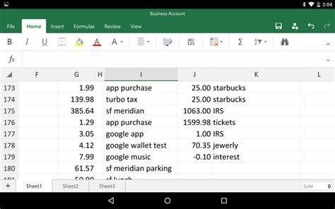 excel templates for android hands on with office for android tablets polished and