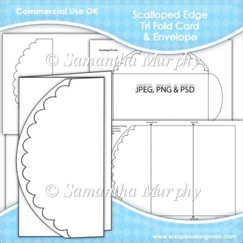 3 fold card template scalloped edge tri fold card envelope template