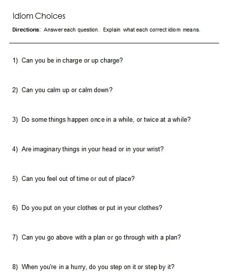 idiom worksheets idioms word lists worksheets activities and more free language stuff