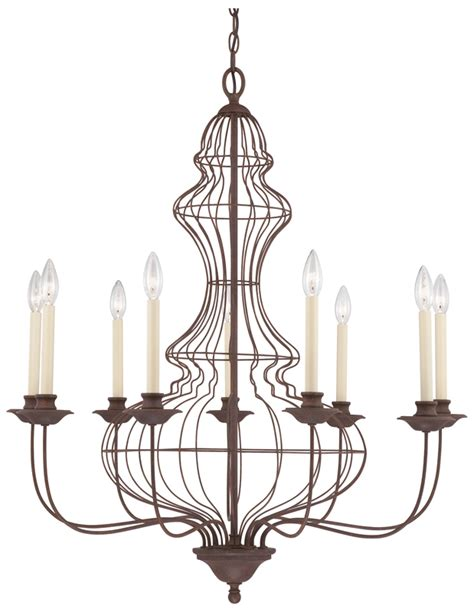 Wire Chandeliers Venezia Antique Bronze 9 Arm Wire Chandelier