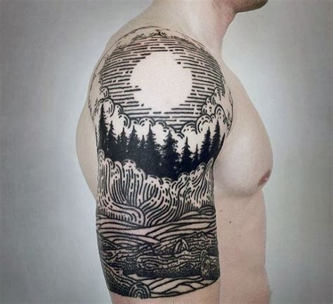 male half sleeve tattoo designs 100 forest designs for masculine tree ink ideas