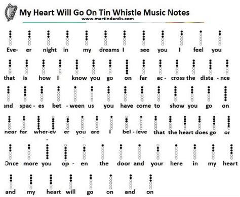 tutorial gitar one direction my heart will go on tin whistle sheet music