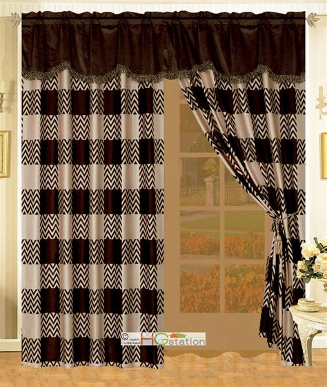 faux fur curtains 4 cozy cfire faux fur chevron checkered curtain set