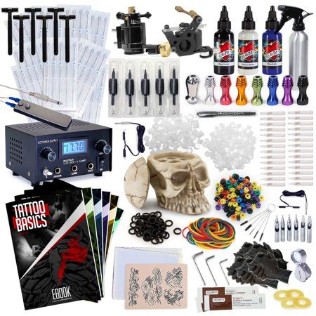 rehab ink professional tattoo kit   ink colors skull ink holder  machines power supply