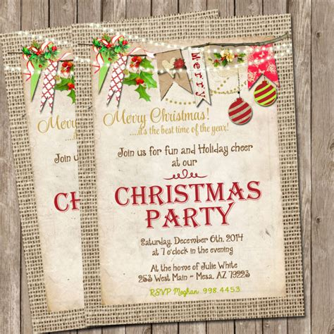 printable birthday invitations etsy items similar to printable christmas party invitation