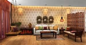 wonderful Modern Wallpaper Designs For Living Room #1: modern-traditional-indian-living-room-idea-with-ethnic-wallpaper.jpg