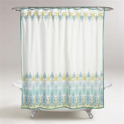 blue and green kitchen curtains blue green print shower curtain world market