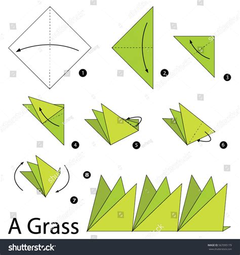 How To Make Paper Grass - step by step how make stock vector 567095179