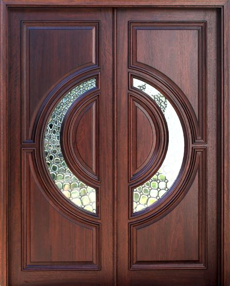elegant mahogany  glass arch double front door home