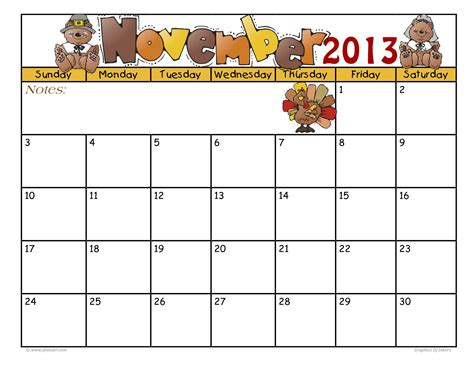 Thanksgiving 2013 Calendar Printable November 2015 With Thanksgiving Pictures