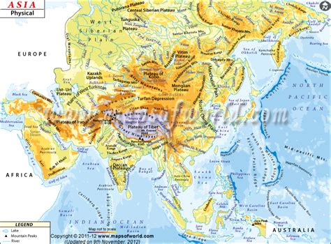 central and east asia physical map map of physical features of africa southwest asia