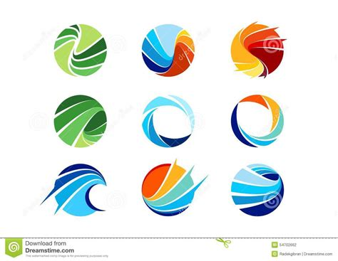 design service icon vector circle water logo wind sphere plant leaves wings flame sun