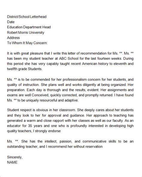 Recommendation Letter For Student In Education Sle Letters Of Recommendation For 12 Documents In Word