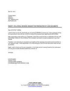 Business Letter Requesting Signature Collateral Decision Request For Loan Documents Template