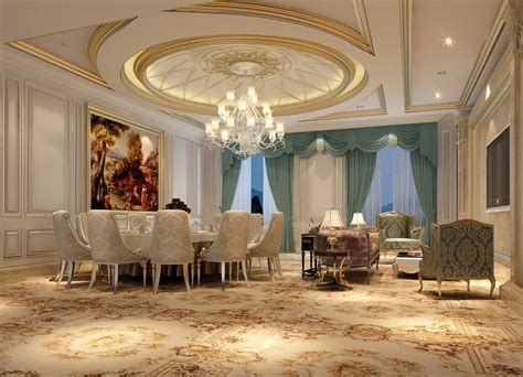 Restaurant Chandelier Ceiling And Chandelier In Luxury Restaurant Room 3d House