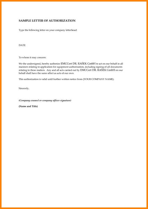 sample  authorization letter template  representative