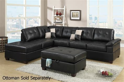 Poundex Reese F7519 Black Leather Sectional Sofa Steal A Leather Sofa Sectional