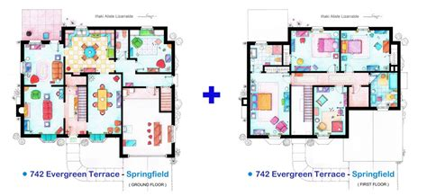 floor plan of the simpsons house the house of the simpsons small by tvfloorplansandmore on etsy