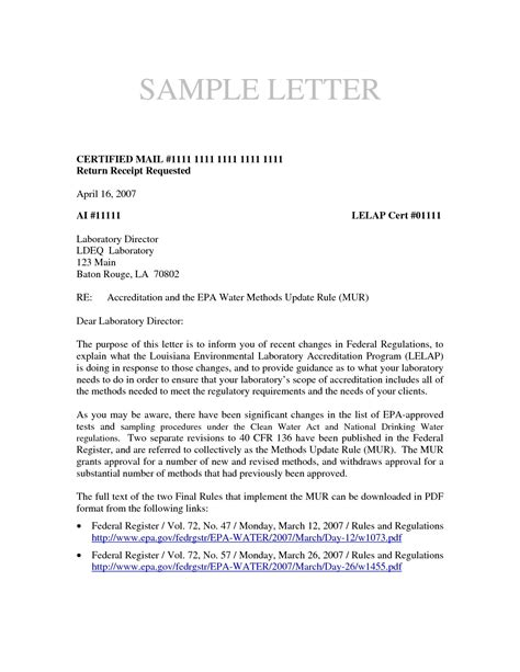 Business Letter Format Via Class Mail business letter format sent via certified mail new letter