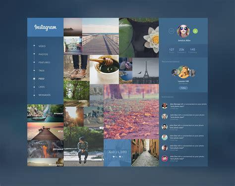 web ui layout design instagram redesign ui design layout concept