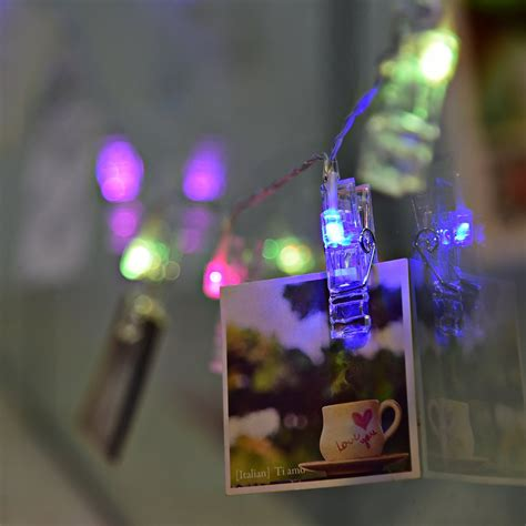 String Lights Wall - 30 led battery powered led photo clip hanging string light