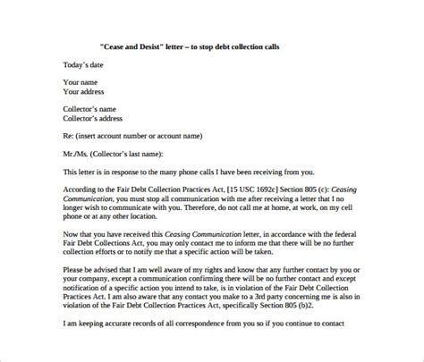 cease and desist letter template for debt collectors cease and desist letter template 8 free word pdf