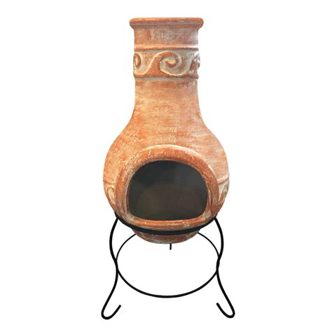 chiminea bunnings jumbuck 36 x 36 x 85cm blazed terracotta clay chiminea