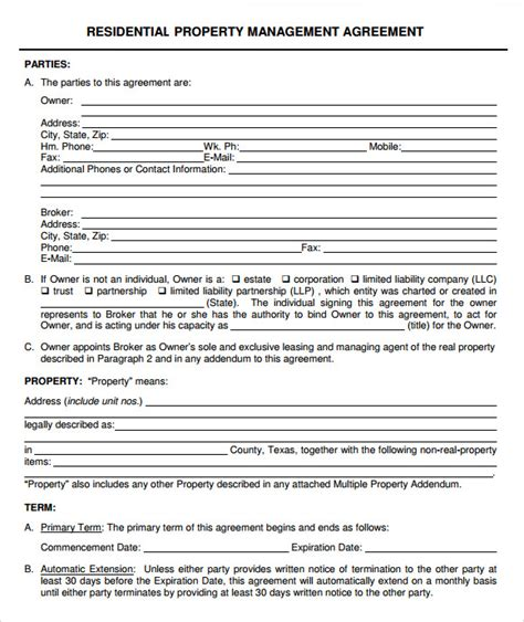 9 Sle Property Management Agreement Templates To Download Sle Templates Property Management Forms Templates