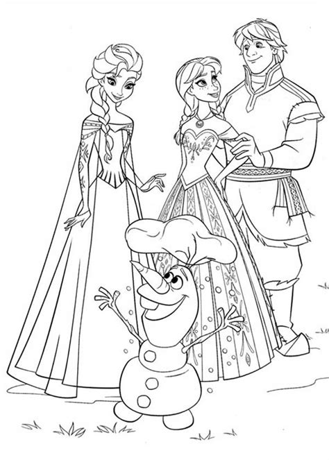 frozen coloring pages anna and elsa and olaf anna elsa kristoff and olaf coloring page free printable