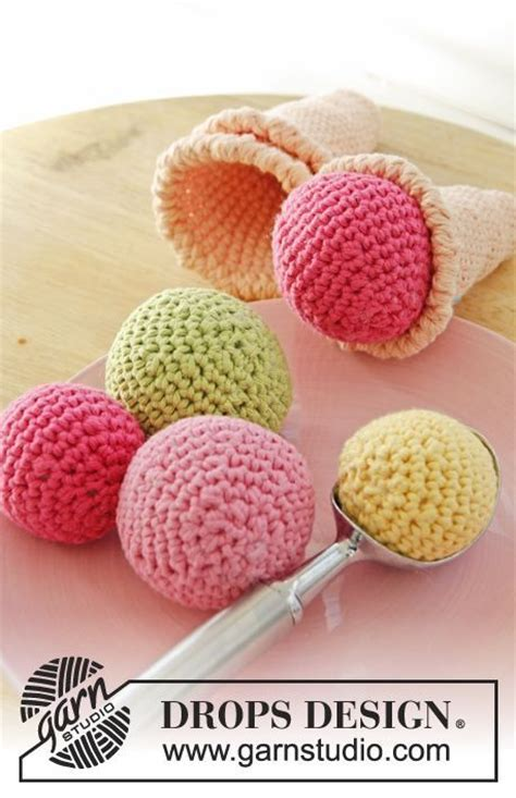 drops design tutorial video crocheted ice cream cone with loose scoops free crochet