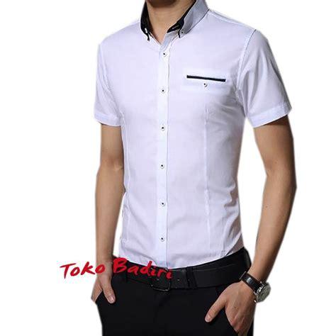 Kemeja Alisan Putih Polos jual baju kemeja pria lengan pendek slimfit putih polos