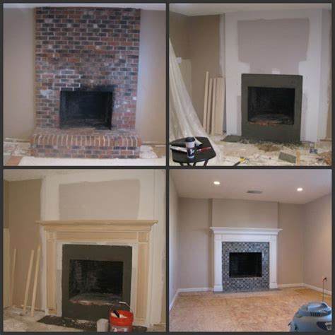 fireplace remodel brick fireplace makeover before during after fireplace makeovers brick