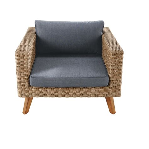Wicker Armchair by Wicker And Charcoal Grey Canvas Garden Armchair Feroe