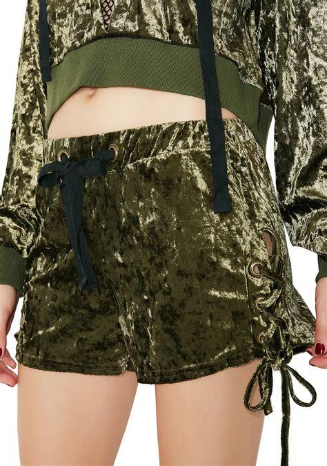 Lace Up Velvet Shorts velvet lace up shorts dolls kill