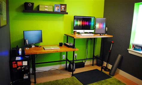 diy adjustable standing desk from steel pipe ikea countertop
