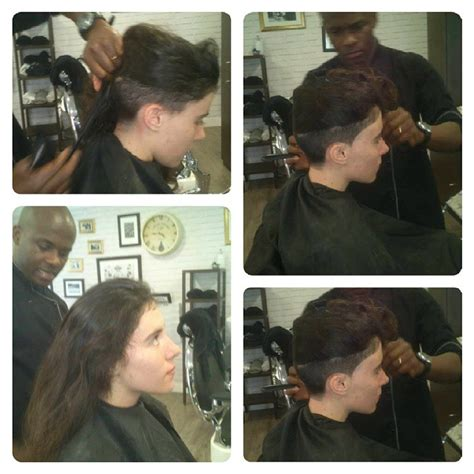 women barbershop haircuts woman cuts long hair into short undercut haircut