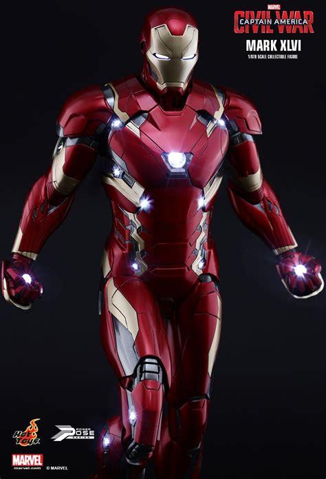 captain america by mark 1302908316 captain america iron man mark xlvi hot toys figure civil war iron man mark 46 12 quot hot toys