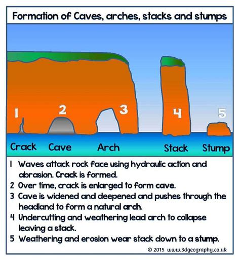 caves arches stacks and stumps diagram all about coastal erosion