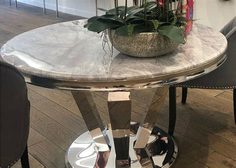 large  marble dining table grey silver  sutton