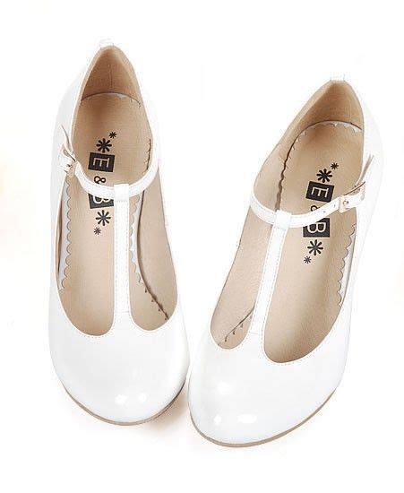 retro white t bar toe leather heeled shoes
