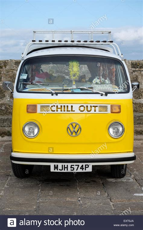 volkswagen van front st ives cornwall uk yellow vw cer van with chill