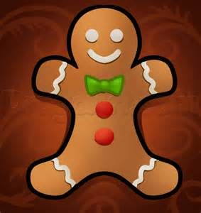 draw gingerbread man easy step step christmas stuff seasonal free drawing