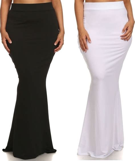 9 Gorgeous Maxi Skirts by Plus High Waist Slim Bodycon Fitted Mermaid Flare