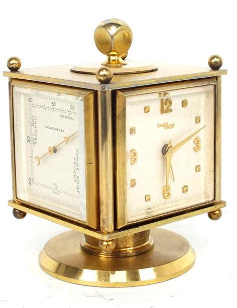 antique desk clock imhof barometer clock weather station
